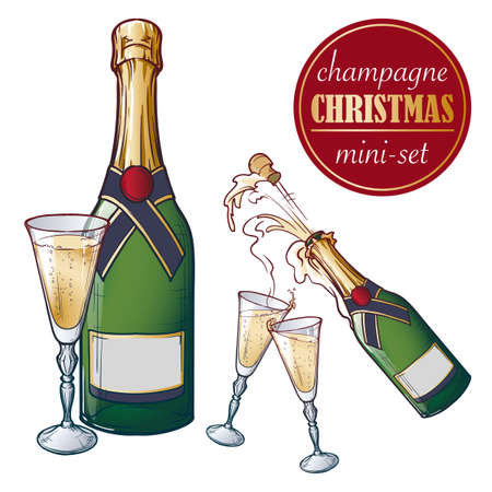 Champagne bottle and glasses. Closed and open champagne bottle and glasses, holiday toast, cork jumping out with explosion. Set of hand drawn EPS10 vector illustrations isolated on white background. Illustration