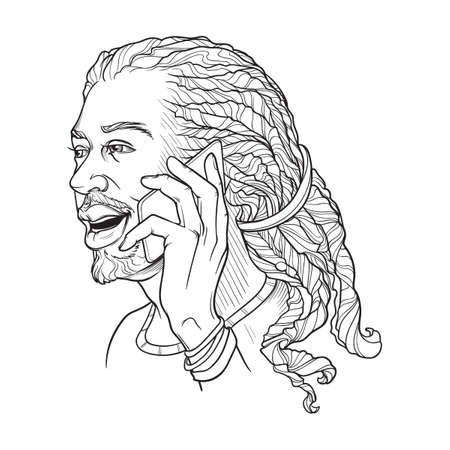 Afro-American young man with dreadlocks speaking on the phone and smiling. Black and white linear sketch isolated n white background vector illustration.