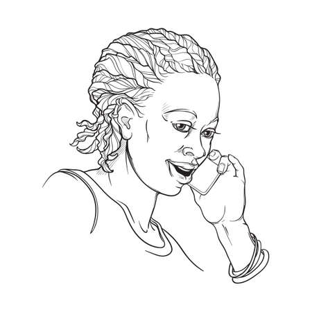 Afro-American young woman with cornrow braids speaking on the phone and smiling. Black and white linear sketch isolated on white background vector illustration.