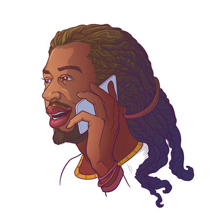 Afro-American young man with dreadlocks speaking on the phone and smiling. Colored linear sketch isolated n white background.