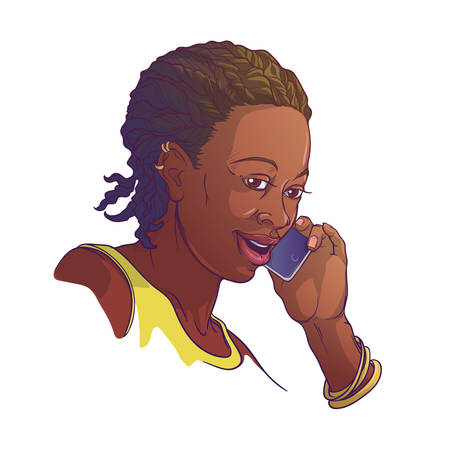 Afro-American young woman with cornrow braids speaking on the phone and smiling. Colored linear sketch isolated on white background. EPS10 vector illustration Vettoriali