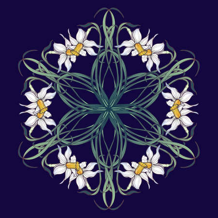 Spring flowers, Daffodil flowers interlaced into an intricate circular ornament on a colored background. Stock Illustratie