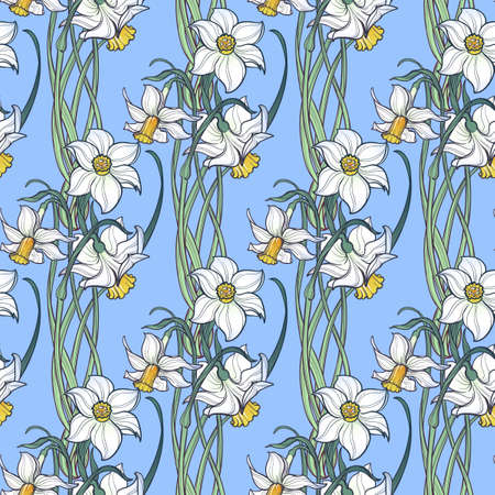 Spring flowers. Daffodil flowers interlaced into an intricate ornament on a light blue background. Art Nouveau style drawing. Seamless pattern with regular distribution of elements. Illustration