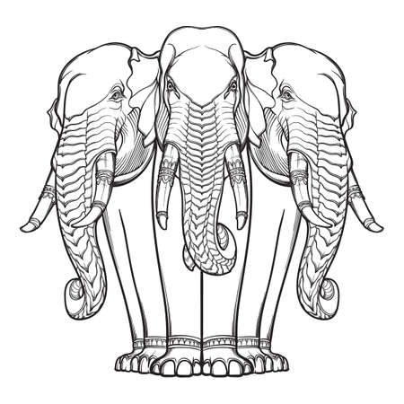 Statue of three elephants. Popular motiff in Asian arts and crafts. Intricate hand drawing isolated on white background. Tattoo design. EPS10 vector illustration