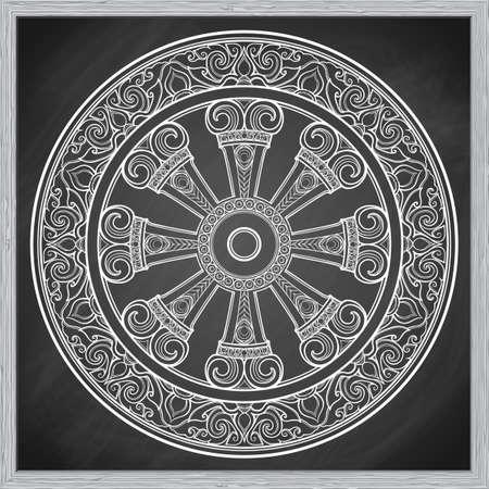 Dharma Wheel, Dharmachakra, Chalk Illustration on a blackboard imitation. 矢量图像