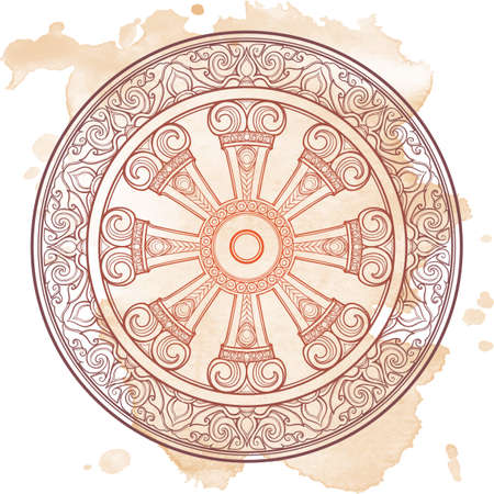 Dharma Wheel, Dharmachakra, Monochrome Illustration.