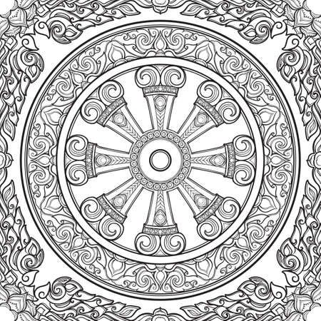 Dharma Wheel, Dharmachakra in Monochrome Illustration.
