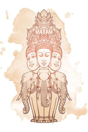 Statue representing Trimurti - trinity of Hindu gods Brahma, Vishnu and Shiva, sitting on three elephants. Intricate hand drawing isolated on textured background. Tattoo design. EPS10 vector