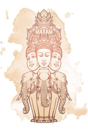 Statue, die Trimurti darstellt - Dreiheit der hinduistischen Götter Brahma, Vishnu und Shiva, sitzend auf drei Elefanten. Verwickelte Handzeichnung lokalisiert auf strukturiertem Hintergrund. Tattoo-Design. EPS10 Vektor