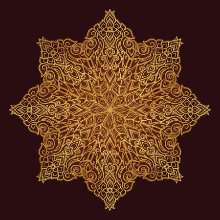 Popular decorative motif in South Eastern Asia. Intricate star shaped ornament. Hand drawing. Golden mandala Isolated on dark brown background. EPS10 vector illustration Illustration