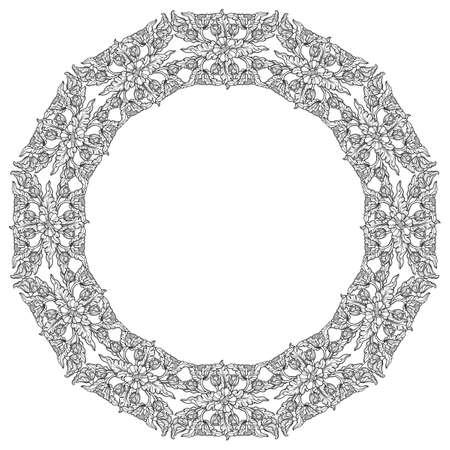 Lotus flowers arranged in intricate circular frame.