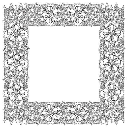 Lotus flowers arranged in intricate square frame. Popular decorative motif in South-Eastern Asia. Tattoo design Linear drawing isolated on white background. EPS10 vector illustration