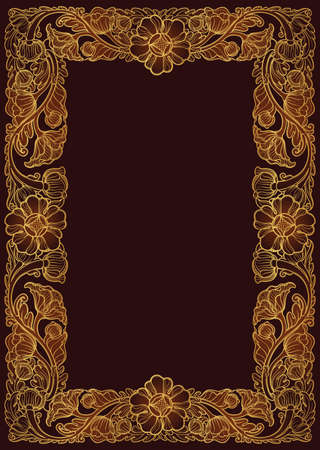 Lotus flowers arranged in intricate rectangular frame. Popular decorative motif in South-Eastern Asia. Tattoo design Linear drawing in gold isolated on dark brown background EPS10 vector illustration