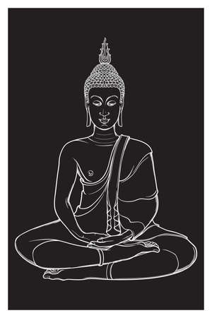 Buddha sitting and meditating in the single lotus position. Intricate hand drawing isolated on black background. Tattoo design vector illustration