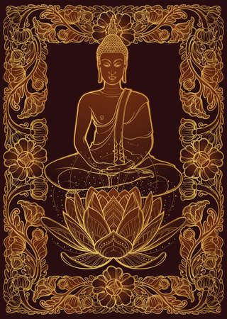 Buddha sitting on a Lotus flower and meditating in the single lotus position. Decorative rectangular Thai style frame. Golden linear drawing isolated on dark brown background EPS10 vector illustration Stock Illustratie