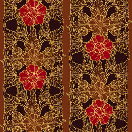 Stylized exotic flowers, traditional South Eastern Asia ornament. Popular in Buddha temples decoration, vertical rhythm. Golden linear drawing on brown with red flowers vector.