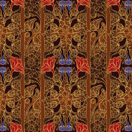 Stylized exotic flowers. Traditionaln South Eastern Asia ornament. Popular in Buddha temples decoration. Vertical rhythm with stripes. Golden linear drawing on brown with blue and red flowers. EPS10