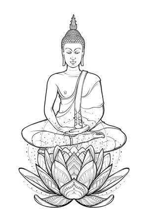 Buddha sitting on a Lotus flower and meditating in the single lotus position. Intricate hand drawing isolated on white background. Tattoo design. EPS10 vector illustration Imagens