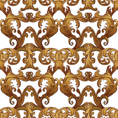 Acanthus plant leaves arranged in intricate seamless pattern. Popular decorative motif in antiquity and baroque art. Tattoo design. linear drawing isolated on white background. EPS10 vector