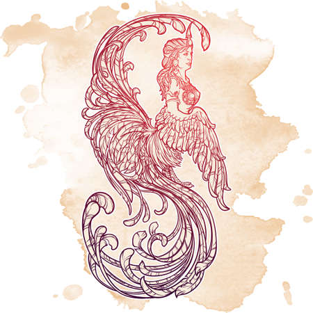 Gamayun - half-woman half-bird prophetic creature in Russian myths and fairy tales. Intricate linear drawing isolated on grunge textured background. Tattoo design. EPS10 vector drawing.