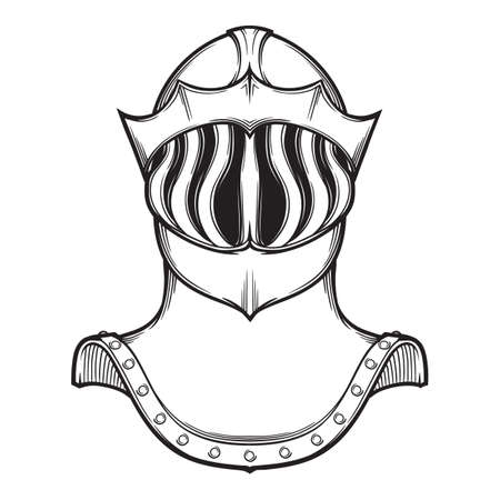 Late Medieval European helmet tipically worn by mounted knights on tournaments. Front view. Heraldry element. Black a nd white drawing isolated on white background. EPS10 vector illustration