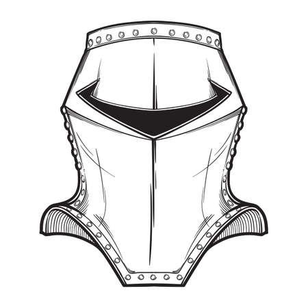 Spätmittelalterlicher europäischer Helm, der typischerweise von berittenen Rittern im Krieg getragen wurde. Vorderansicht. Heraldik-Element. Schwarzweiss-Zeichnung isoliert auf weißem Hintergrund. EPS10-Vektorillustration