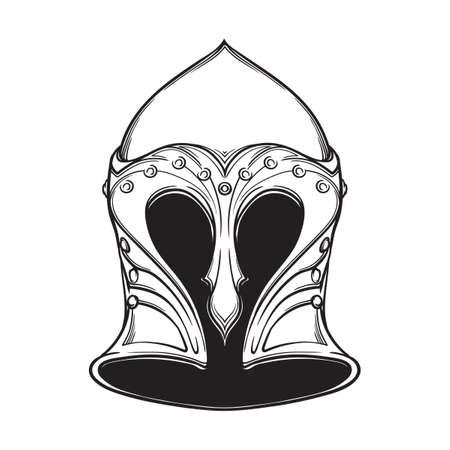 Fantasy Elven Helmet. Heraldry element. Black a nd white drawing isolated on white background. EPS10 vector illustration Illustration
