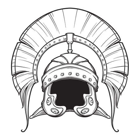 Galea. Roman Imperial helmet with crest tipically worn by centurion. Front view. Heraldry element. Black a nd white drawing isolated on white background. EPS10 vector illustration Ilustração