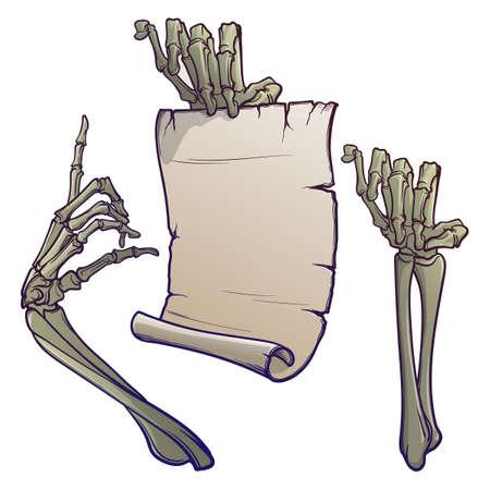 Elementos de diseño de Halloween. Par de manos esqueléticas apuntando con un dedo y sosteniendo una pancarta. dibujo lineal aislado sobre fondo blanco. Ilustración vectorial EPS10