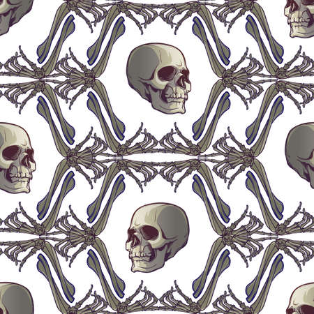 Halloween Seamless Pattern. Human hand bones and skulls. Regular geometryc rhythm. Isolated on white background. EPS10 vector illustration Illustration