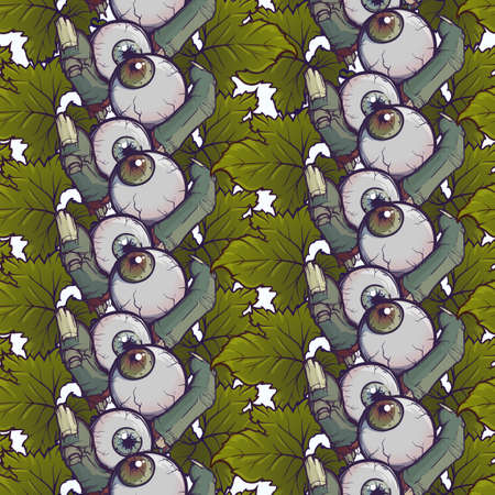 Halloween Seamless Pattern. Human fingers and eyeballs arranged in a cute wreath. Chaotic distribution of elements. Isolated on white background. EPS10 vector illustration