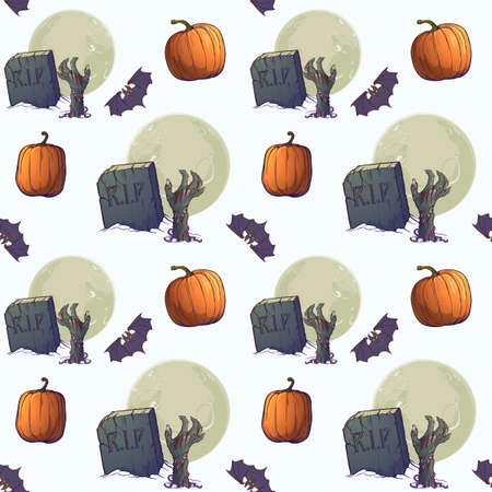 Halloween Seamless Pattern. Zombie hands, tombstones and moon. Chaotic distribution of elements. Isolated on white background. EPS10 vector illustration