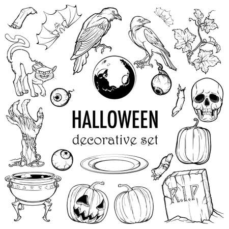 Hallooween elements designers set. 21 original elements isolated on white background. EPS10 vector illustration Illustration
