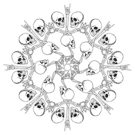 Halloween Mandala. Human hand bones and skulls arranged in an intricate gothic circular ornament. Gothic rose window motif. Tattoo design. Isolated on white background. EPS10 vector illustration