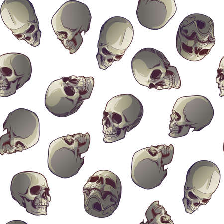 Halloween Seamless Pattern. Human skulls in various view angles. Isolated on white background. Chaotic distribution of elements. EPS10 vector illustration