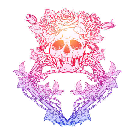 Halloween Santa Muerte. Human skull in a rose wreath and hand bones in dog-rose garlands. Mystical character. Tattoo design. Trendy colored line drawing Isolated on white background. EPS10 vector