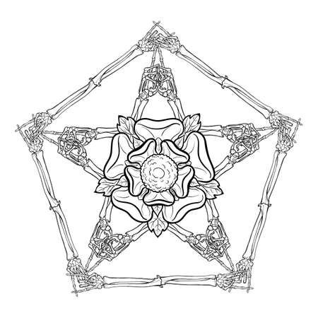 Halloween pentagrame. Human hand bones arranged in an intricate gothic occult ornament with a stylized rose flower in the center. Tattoo design. Isolated on white background. EPS10 vector illustration