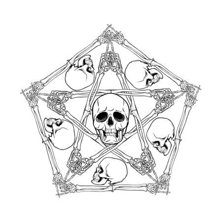 Halloween pentagrame. Human hand bones and skulls arranged in an intricate gothic occult ornament. Tattoo design. Isolated on white background. EPS10 vector illustration