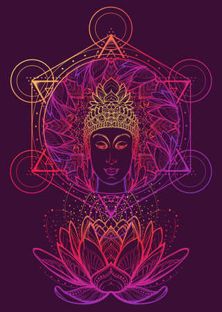 Buddha head in a lotus flower frame. Hexagram representing anahata chakra in yoga on a background. Intricate hand drawing isolated on byzantium tone background. Tattoo design. EPS10 vector