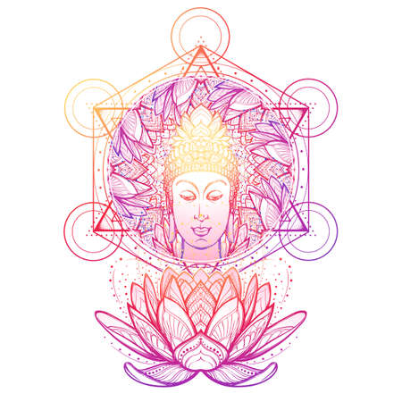 Buddha head in a lotus flower frame. Hexagram representing anahata chakra in yoga on a background. Intricate hand drawing isolated on white background. Tattoo design. EPS10 vector