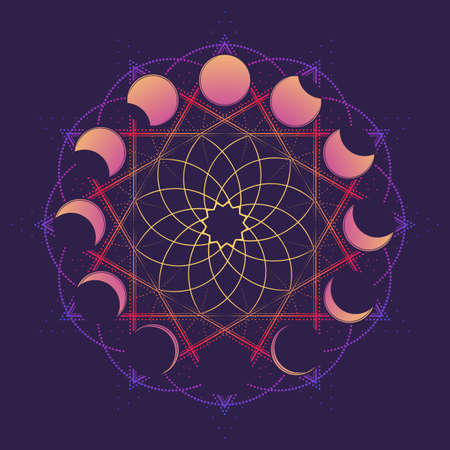 Circular ornament with moon in different phases. Viccan symbol of a white goddess. Line drawing isolated on a deep violet background. Tattoo design. EPS10 vector illustration