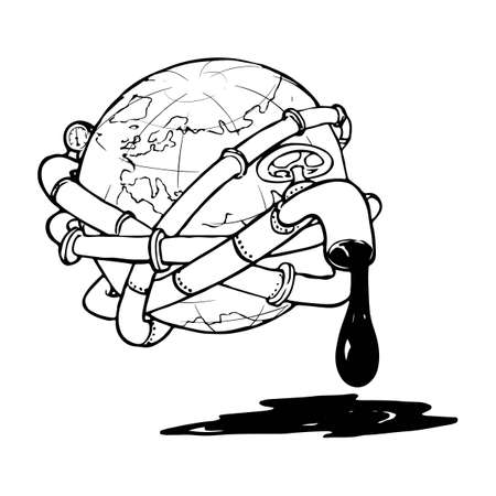 Globe entangled with oil pipelines. Illustration on the modern world vicious dependency on the fossil fuels. Sketch style drawing isolated on a white background. vector illustration Standard-Bild - 117235432