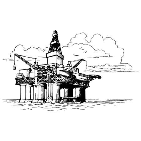 Offshore oil drilling platform. Sketch style drawing isolated on a white background. Vettoriali