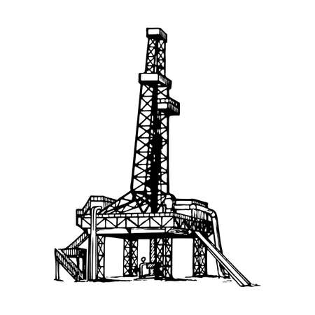 land oil drilling complex also called oil rig. Sketch style drawing isolated on a white background.