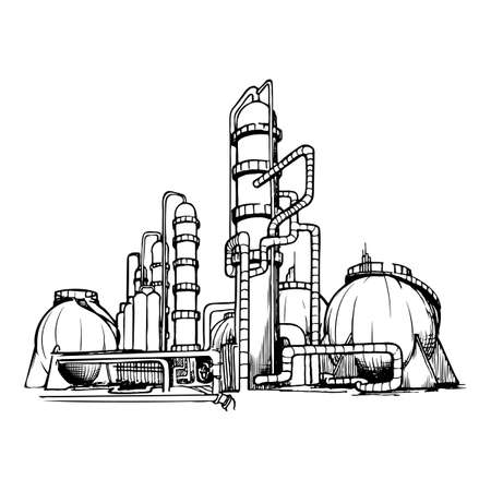 OIl production plant. Sketch style drawing isolated on a white background. EPS10 vector illustration
