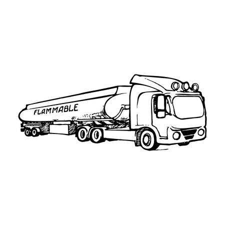 A tank truck is a special type of vehicle for transportation of liquid and gaseous commodities. Sketch style drawing isolated on a white background. EPS10 vector illustration Stock Illustratie