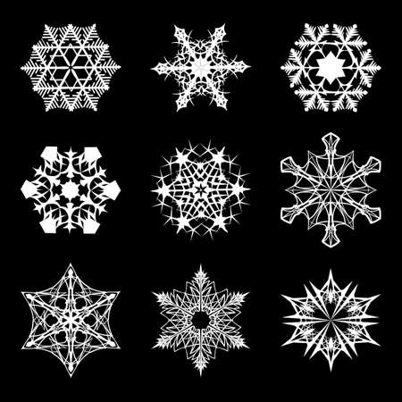 Set of 9 various shapes of Snowflakes. Intricate star-like crystall silhouettes isolated on black background. EPS10 vector illustration