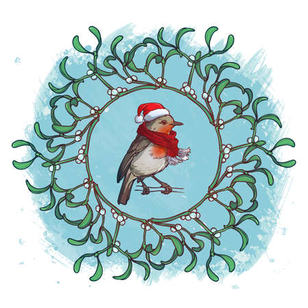 Christmas Greeting card. Robin bird in a red christmas hat and skarf. Mistletoe twigs decorative frame. Watercolor textured background. Vector drawing isolated on white background.