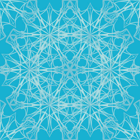 Winter Frost patterns. Intricate star-like crystall silhouettes isolated on blue background. Seamless pattern. EPS10 vector illustration
