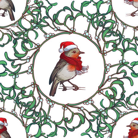 Christmas seamless pattern. Robin bird in a red christmas hat and skarf. Mistletoe twigs decorative frame. Vector drawing isolated on white background. EPS10 vector illustration Ilustração